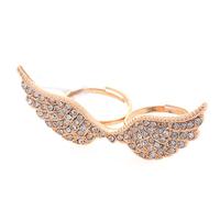 CCR136 Inner Diameter 18mm 18K Gold Plated Crystal Angel Wing Double Finger Ring