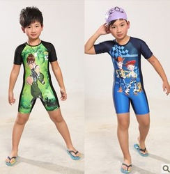 Free Shipping Child one-piece swimsuit big boy children cartoon sun protection age 5-12 surfing swimwear spiderman superman(China (Mainland))