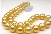 Free Shipping 12mm Natural South Sea Gold shell Pearl Necklace 18""