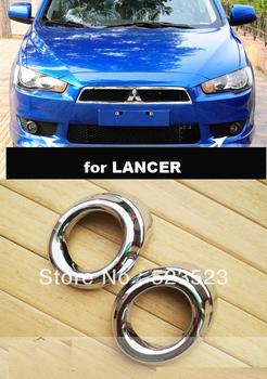 Free Ship for Mitsubishi  LANCER  2010 2011 Chrome  Front Fog Light Lamp Covers Trim 2pcs