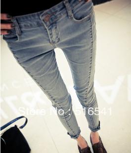 Free shippingRetro light - colored stitching design Slim was thin tight jeans 6666 #(China (Mainland))