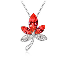 Hot sales  2013 best selling taobao blasting accessories leaves Austrian crystal necklace - colorful leaves 4433-63