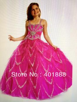 Hot pink spaghetti strps fashion kids party wear latest dress designs