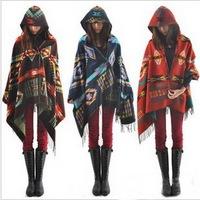 Hot sale European style Colorful Geometric pattern Women Hooded cape women's Shawls scarves Hooded Scarf Bohemian shawls scarves