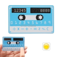 Doulex Magnetic Tape Pattern Solar Calculator Counter Calculating Ordinary Bank Card Size Blue Free Shipping(China (Mainland))