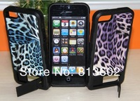 Free  DHL,Luxury Brushed Leopard PC+Tpu Hybrid SkinHard Stand Gummy Armor Case For iPhone 5 5G