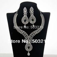 Free Shipping High Quality Clear Crystal Rhodium Emerald Zircon Design Inidan Bridal Wedding Jewelry Sets
