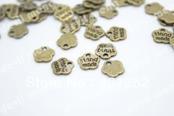 "100pcs/lot Bronze tone flower message ""hand made"" charm pendant 8mm(China (Mainland))"