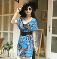 Women's Summer New Fashion Chiffon Dress Short sleeve loose Waist free belt