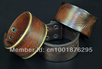 LOT 3PCS SIMPLY COOL SINGLE BAND GENUINE LEATHER BRACELET WRISTBAND MEN'S WIDE CUFF