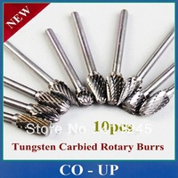 "Free Shipping  10pcs Tungsten Carbied Rotary Burrs 1/8""(3mm)Shank 1/4"" (6mm) Head, Hard alloy 10 SIZE Drill Bits"