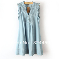 2013 V-neck Fashionable  Summer Dress Casual Denim Skirt Ruffle Sleeveless Tank