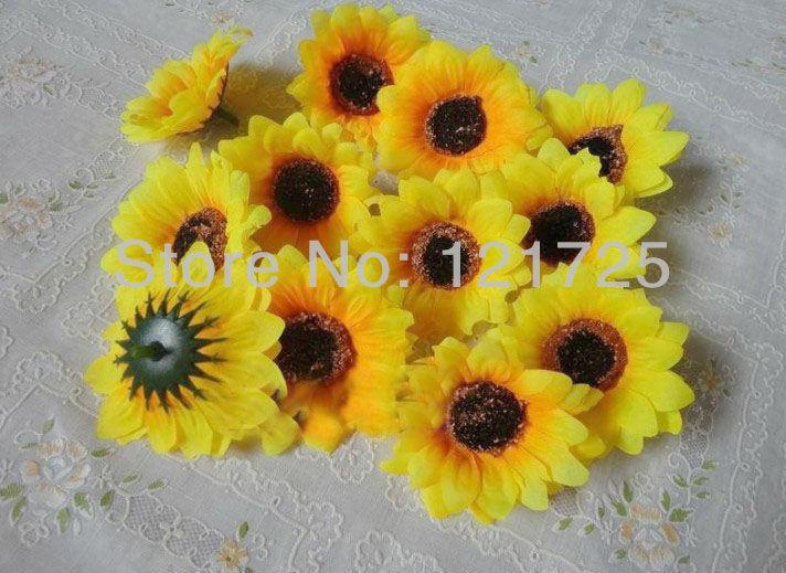 DIY artificial sunflower Flower Heads wedding flower hair decorative 6CM(China (Mainland))