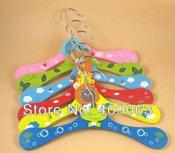 20pcs/lot wooden kids clothes hanger cartoon wood children's garment rack cloth dryer free shipping