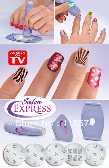 Salon Express As Seen On TV Nail Art Stamping Kit Nail Stencil Kit Free shipping 120 sets/lot(China (Mainland))