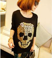 2013 Free shipping quality fashion long sleeve gold skull print T-shirt casual summer lady base shirt L086