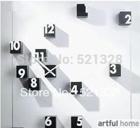 Free shipping Stylish Simple DIY  Wall Clock DIY clock Funny Clock Digital wall clock The mute Acrylic watch F177