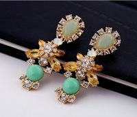 Free shipping new design 2013 luxury party earrings for women gold length 6.2cm
