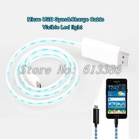 Visible Flashing led Light Cable Smart Charger Micro USB Cable, Free Shipping
