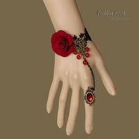 FREE SHIPPING! Handmade Womens Red Rose Flower Beads Drop Bronze Black Lace Adjustable Ring Bracelet Set Lolita Fashion Jewelry