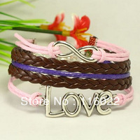fashion cheap price free shipping handmade silver love letters bracelet