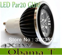 Free shipping Dimmable Gu10 MR16 E27 B22  Par20 4X3W 12W AC85-265V High Power Led Light Bulbs LED Lamp Spotlight Good quality