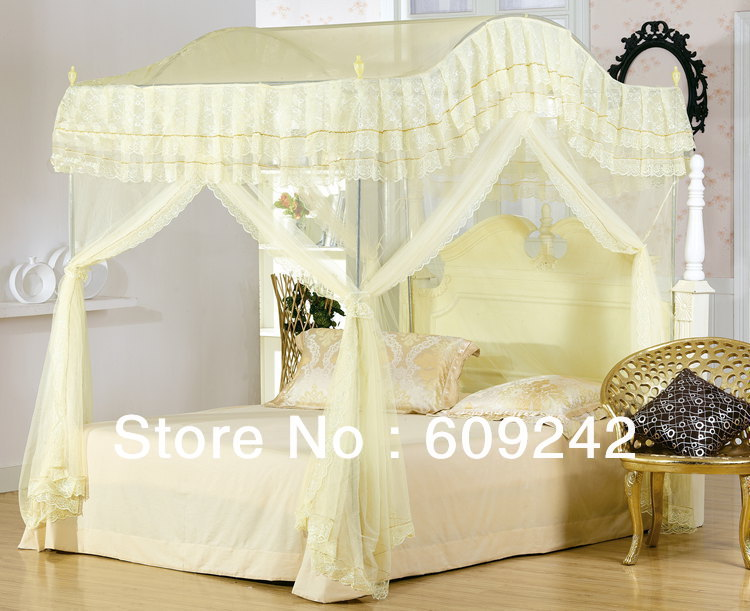 Discount top-grade new type lace edge mosquito netting princess romantic mosquito net (full queen size 1.5 1.8m bed use)(China (Mainland))