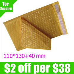 "Wholesale Free shipping 110pcs/lot Golden Kraft Bubble Envelope Mailer Air Bag Overal size is 110mm x 170mm (4.3""x 6.7"")(China (Mainland))"