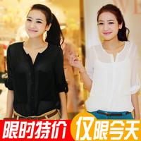 Fashion spring large pocket perspectivity stand collar shirt long-sleeve chiffon shirt female black and white shirt