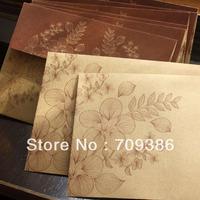 Free shipping, flower kraft paper gift envelope, 50pcs/lot