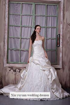 Tube top handmade flower wedding dress bride formal dress lace diamond decoration a-line skirt small church train wedding dress