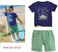 Free Shipping (5sets/lot ) 2013  High Quality Boy' s Suit Fashion Letters T-shirt+ Short Pants Kids 2pc Set Boy Clothes Set