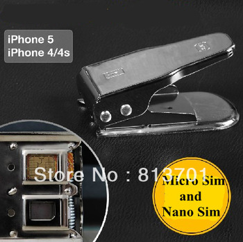 Free Shipping Steel Metal 2 in 1 Nano & Micro Sim Card Dual Double Slots Cutter Converter for the iphone 5 5S 4 4S Galaxy S3 S4
