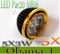 High Power 5XPar20 Led Lamp MR16 E14 GU10 E27 Dimmable 5X3W 15W  4x3W 12W Spotlight Led Light Led Bulbs 12V Energy Saving
