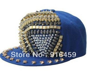 Promotion Free shipping Triangle ghost head rivet 8 Colors PUNK Hiphop baseball snapback Rivet Spike studded Dance Cap hats