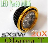 High Power 20XPar20 Led Lamp MR16 E14 GU10 E27 Dimmable 5X3W 15W  4x3W 12W Spotlight Led Light Led Bulbs 12V Energy Saving