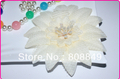 Assorted Cute Large Daisy Flower Hair accessories cream big flower heads with feather  50pcs/lot fabric flower free shipping