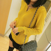 Free Shipping 2013 spring women's loose sweater V-neck basic sweater female Cardigan