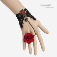 FREE SHIPPING! Handmade Red Rose Bronze Metal Black Lace Flower Drop Adjustable Ring Bracelet Set Lolita Gothic Fashion Jewelry