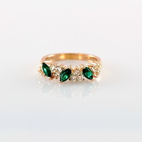 Free Shipping ITALINA Fashion Finger Ring Emerald  Austria Crystal 18K Gold Plated Wedding Quality Rings For Women