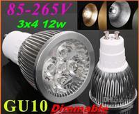 HOT SALE dhl/fedex free GU10 Base 12W Dimmable LED Spot light Bulbs Lamp Downlights warm white 4x3w