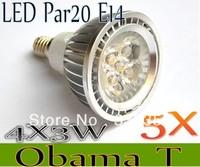 Free shipping 5X Dimmable E14 E27 GU10 MR16 B22 Par20 4X3W 12W 12V AC85-265V High Power Led Light Bulbs LED Lamp Spotlight