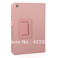 wholesale Foldable Folio PU Leather Smart Cover Stand Case For iPad Mini, Pink