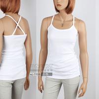 Spaghetti strap vest basic cross spaghetti strap top female 100% cotton small vest 1108