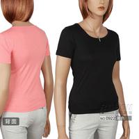 Women's chromophous slim o-neck short-sleeve T-shirt lycra cotton T-shirt basic shirt female