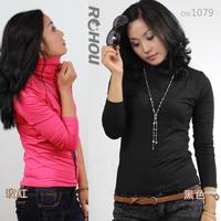 1079 turtleneck milk, silk plus velvet basic female long-sleeve basic turtleneck shirt female t-shirt