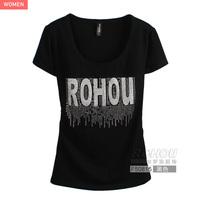 Lycra cotton letter rhinestone o-neck short-sleeve slim female t-shirt f50815