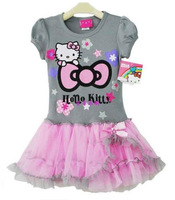 Retail girl hello kitty cute dress kids tutu dresses for 2-5y girl high quality free shipping
