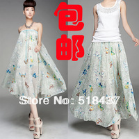 FEMALE DRESS Female half-length women's bohemia expansion s beach chiffon dress full dress