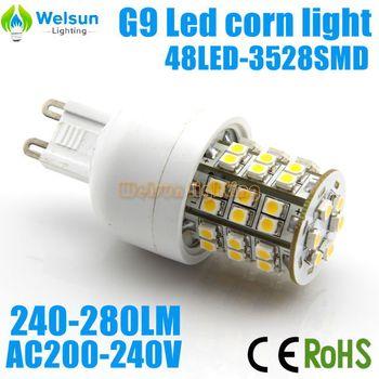 200X AC200-260V 260LM 3W G9 48 SMD 3528 LED Corn Light Bulb White / Warm White LED Spotlight Lamp(G9/E14/E27 optional)